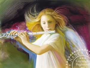 Angel With Flute by Nancy Noel Pricing Limited Edition Print image