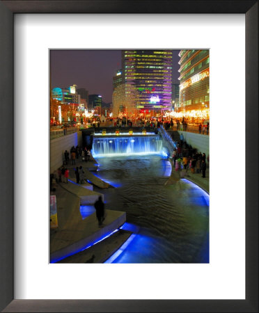 The Cheonggyecheon Stream Draws Crowds Of Locals Out In Early Evening, Seoul, South Korea by Anthony Plummer Pricing Limited Edition Print image