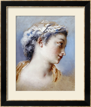 A Portrait Study Of A Young Girl In Profile To The Right by Jacques Andre Portail Pricing Limited Edition Print image