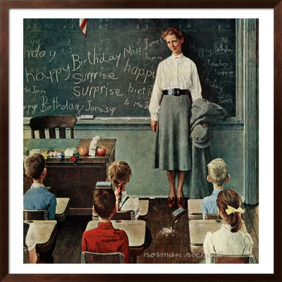 Happy Birthday, Miss Jones, March 17,1956 by Norman Rockwell Pricing Limited Edition Print image
