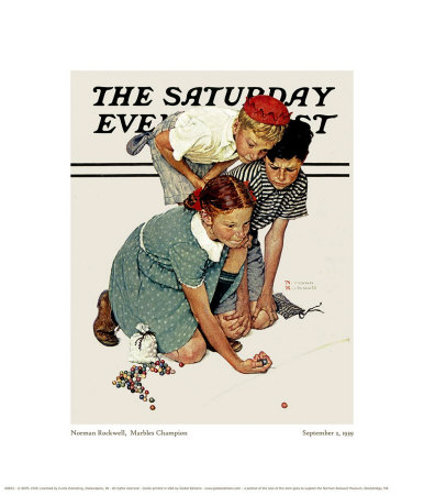 Marbles Champion by Norman Rockwell Pricing Limited Edition Print image