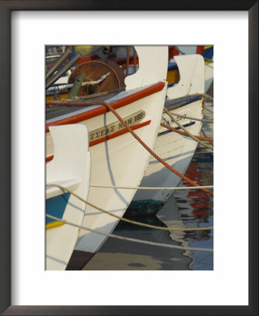 Close Up Of The Front Of Three Fishing Boats In The Harbour, Sitia, Crete, Greek Islands, Greece by Eitan Simanor Pricing Limited Edition Print image