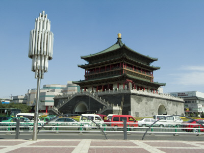 Bell Tower Square, Xian, China Built In 1384 By Emperor Zhu Yuanzhang by Natalie Tepper Pricing Limited Edition Print image