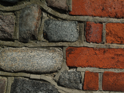Backgrounds - Red Clay Brick And Granite Cobble Wall With Mortar by Natalie Tepper Pricing Limited Edition Print image