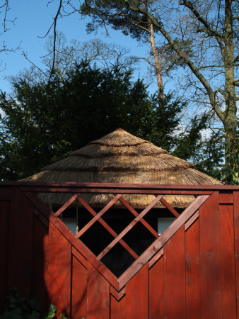 Backgrounds - Red Stained Elaborate Timber Fence Panel, Inset Diamond Trellis, Thatched Garden Hut by Natalie Tepper Pricing Limited Edition Print image