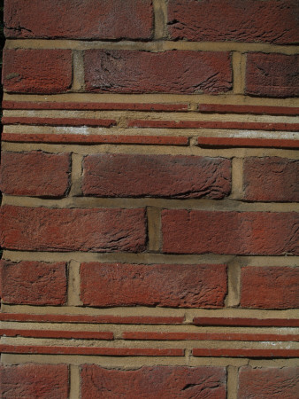 Backgrounds - Detail Of Red Clay Brick Tile And Mortar Wall Stretcher Bond With Tile Course by Natalie Tepper Pricing Limited Edition Print image