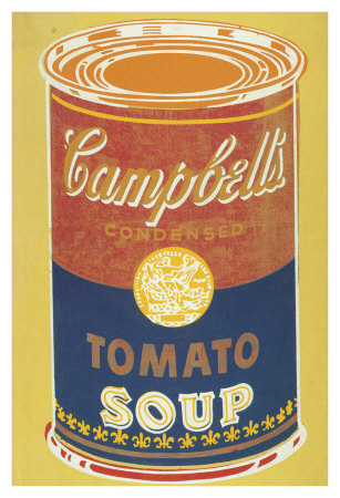 Colored Campbell's Soup Can, C.1965 (Red, Blue And Orange On Yellow) by Andy Warhol Pricing Limited Edition Print image