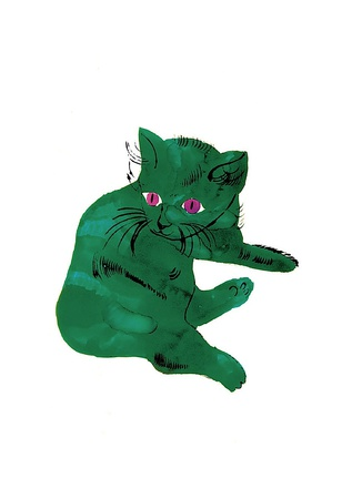 Cat From 25 Cats Named Sam And One Blue Pussy , C. 1954 (Green Cat) by Andy Warhol Pricing Limited Edition Print image