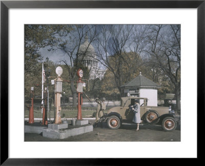 A Filling Station In The Shadow Of The United States Capitol, Photograph Dated 1929 by Edwin L. Wisherd Pricing Limited Edition Print image