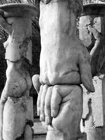 Stature Of Two Human Fists Pressed Together by Ilona Wellmann Pricing Limited Edition Print image
