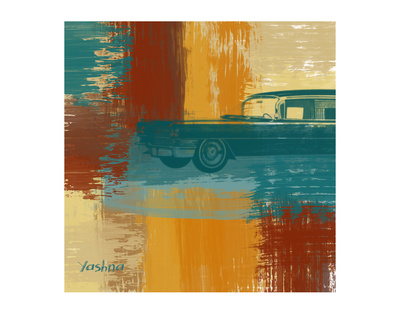 Blue Retro Car by Yashna Pricing Limited Edition Print image