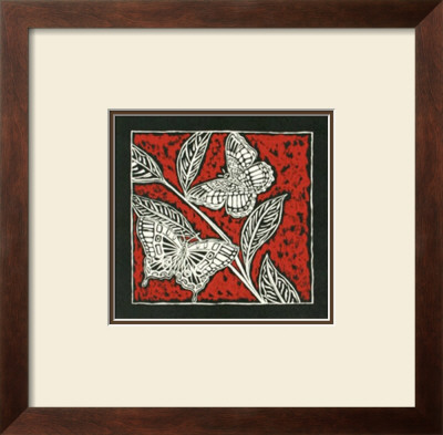 Butterfly Woodblock In Red I by Chariklia Zarris Pricing Limited Edition Print image